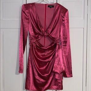LULU's Satin Puff Shoulder Cut Out Satin Dress
